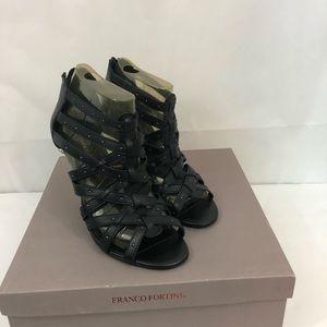 Franco Fortini Black strappy heels studded